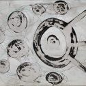 """Преди и след, серия """"Тук и отвъд"""", 2007, китайско мастило върху хартия 34x41 см"""