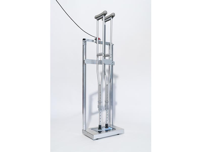 Walking Sticks walking sticks, aluminium frame, X-ray of a fracture in the artist's left foot, surgical titanium needles and wire, servo motor, 131x42x25 cm