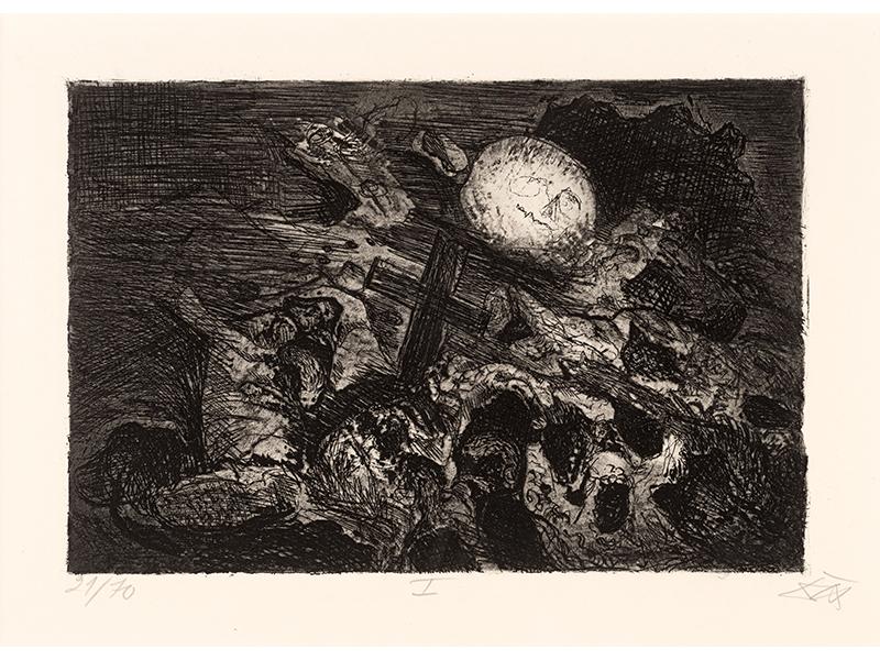 Otto Dix. Soldier´s Grave between the Lines, 1924, etching opus VI, 19,3 x 28,9 © (Otto Dix) VG Bild-Kunst, Bonn