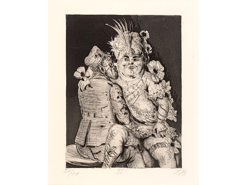 Otto Dix. Visit to Madame Germaine´s in Méricourt, 1924, etching opus VI, 26,1 x 19,8 © (Otto Dix) VG Bild-Kunst, Bonn