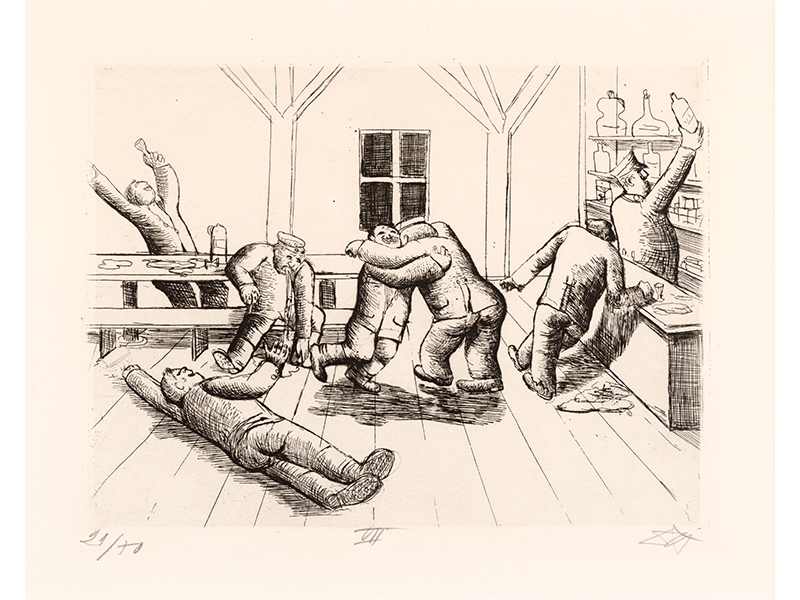 Otto Dix. Canteen in Haplincourt, 1924, etching opus VI , 19,8 x 25,9 © (Otto Dix) VG Bild-Kunst, Bonn