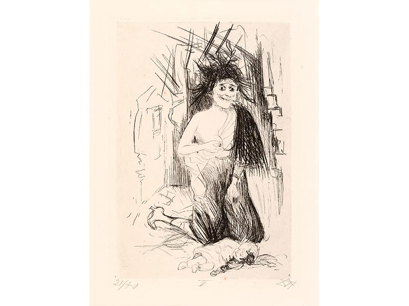 Otto Dix. The Mad Woman of St. Marie-à-Py, 1924, etching opus VI, 28,8 x 19,8 © (Otto Dix) VG Bild-Kunst, Bonn