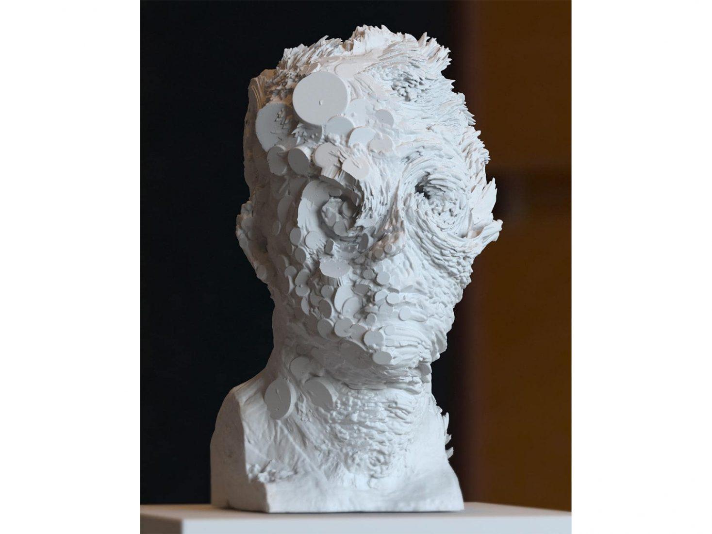 Nikolay Konstantinov. Apophis, 2017, plaster, 36 x 30 x 27 cm