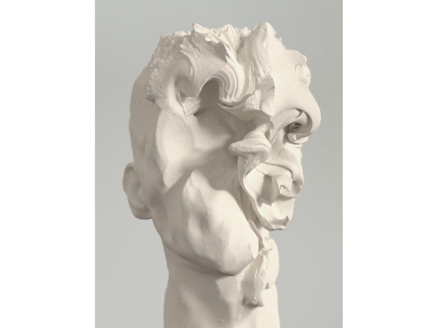 Nikolay Konstantinov. Head 23, 2016, plaster, 36 x 28 x 23 cm