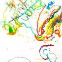 Баланс и равновесие в движение 2 от серията Течна сянка, 2016, акварел върху хартия, 225 x 140 см, Капка, Петно, Листо x 2, дърво, акрилна боя  вариращи размери