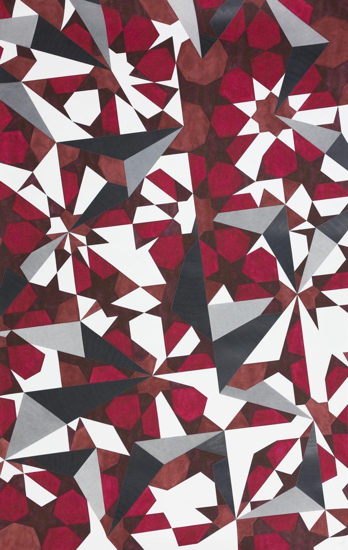 Без заглавие, 2017, акварел, цветен молив, молив върху хартия, 280,5 x 177,5 см. Courtesy Galerie Martin Janda, Vienna