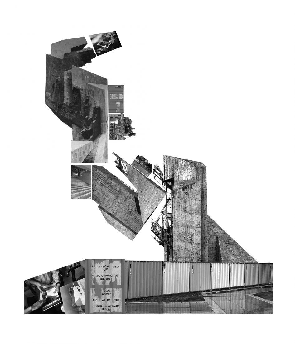 Сабине Битер / Хелмут Вебер, Справяне с историята, 2018,  фотоколаж върху тапет, вариращи размери, С любезното съдействие на художниците