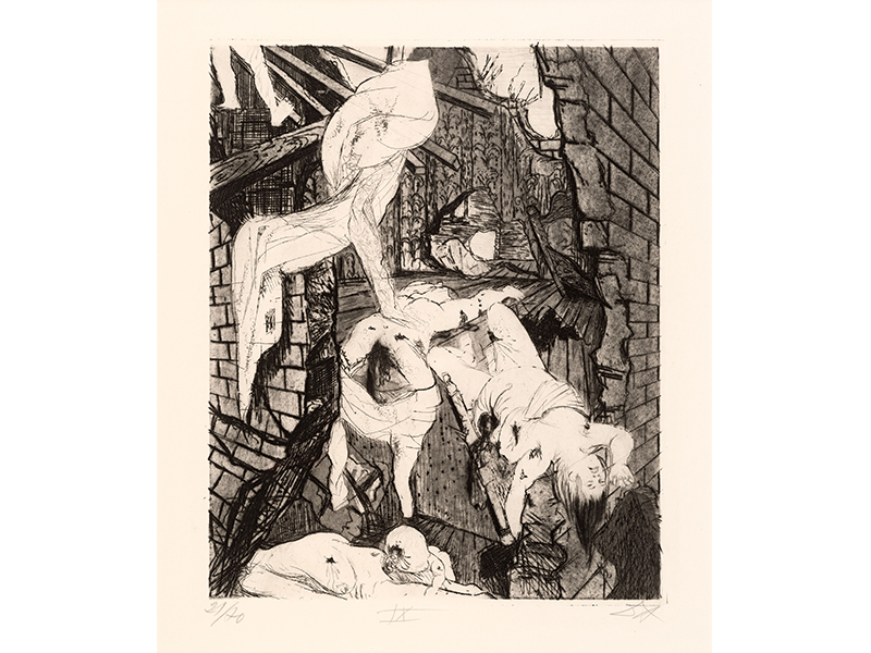Otto Dix. House Destroyed by Air Bombs, 1924, etching opus VI, 29,8 x 24,4 © (Otto Dix) VG Bild-Kunst, Bonn