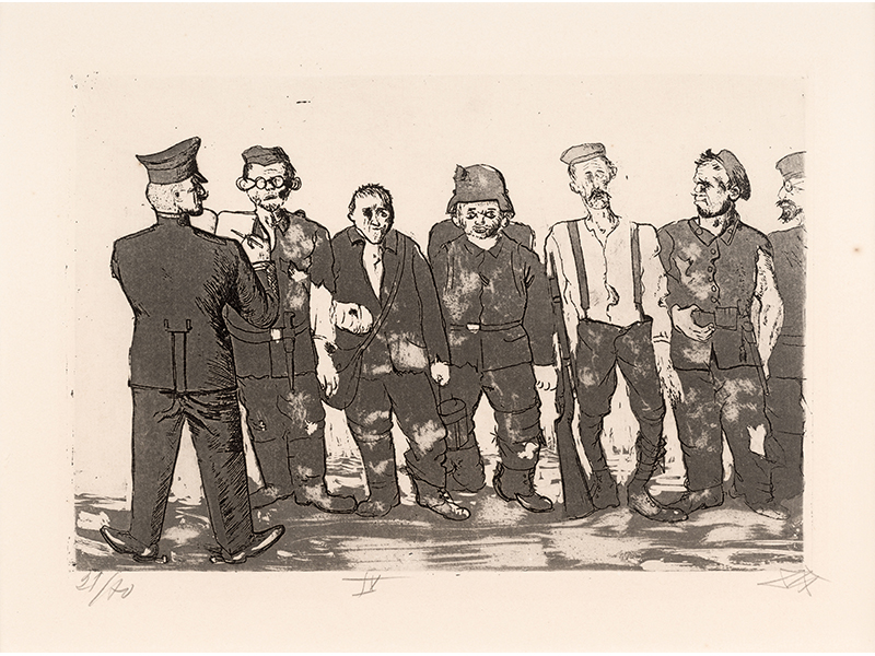 Otto Dix. Roll Call of Returned Soldiers, 1924, etching opus VI, 19,8 x 28,8 © (Otto Dix) VG Bild-Kunst, Bonn