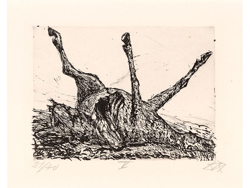 Otto Dix. Pferdekadaver, 1924, etching opus VI, 14,5 x 19,7 © (Otto Dix) VG Bild-Kunst, Bonn