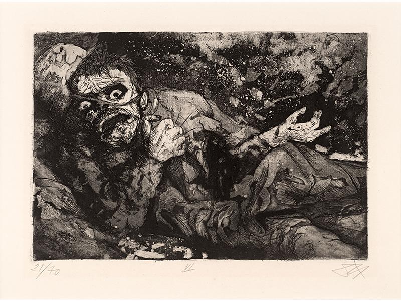 Otto Dix. Wounded Soldier (Bapaume, Autumn 1916), 1924, etching opus VI, 19,7 x 29  © (Otto Dix) VG Bild-Kunst, Bonn