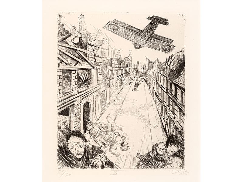 Otto Dix. Lens is Bombed, 1924, etching opus VI, 29,8 x 24,6 © (Otto Dix) VG Bild-Kunst, Bonn