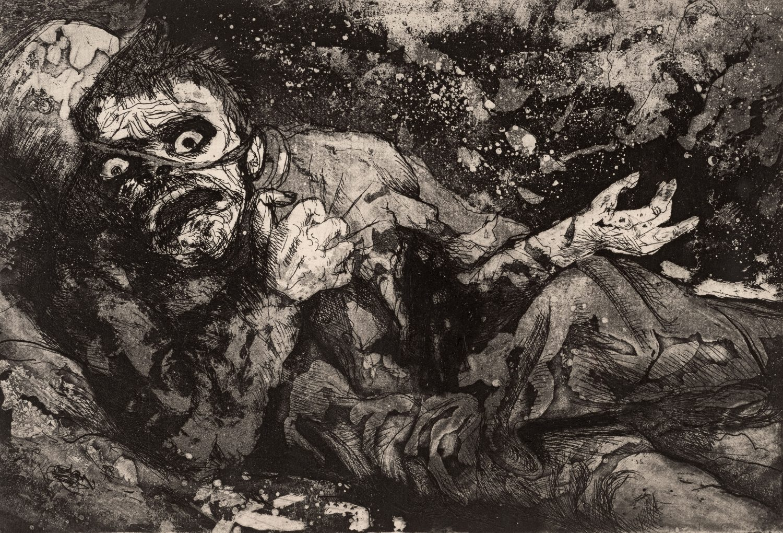 Otto Dix. Wounded Soldier (Bapaume, Autumn 1916), 1924, etching opus VI, 19,7x29cm © (Otto Dix) VG Bild-Kunst, Bonn