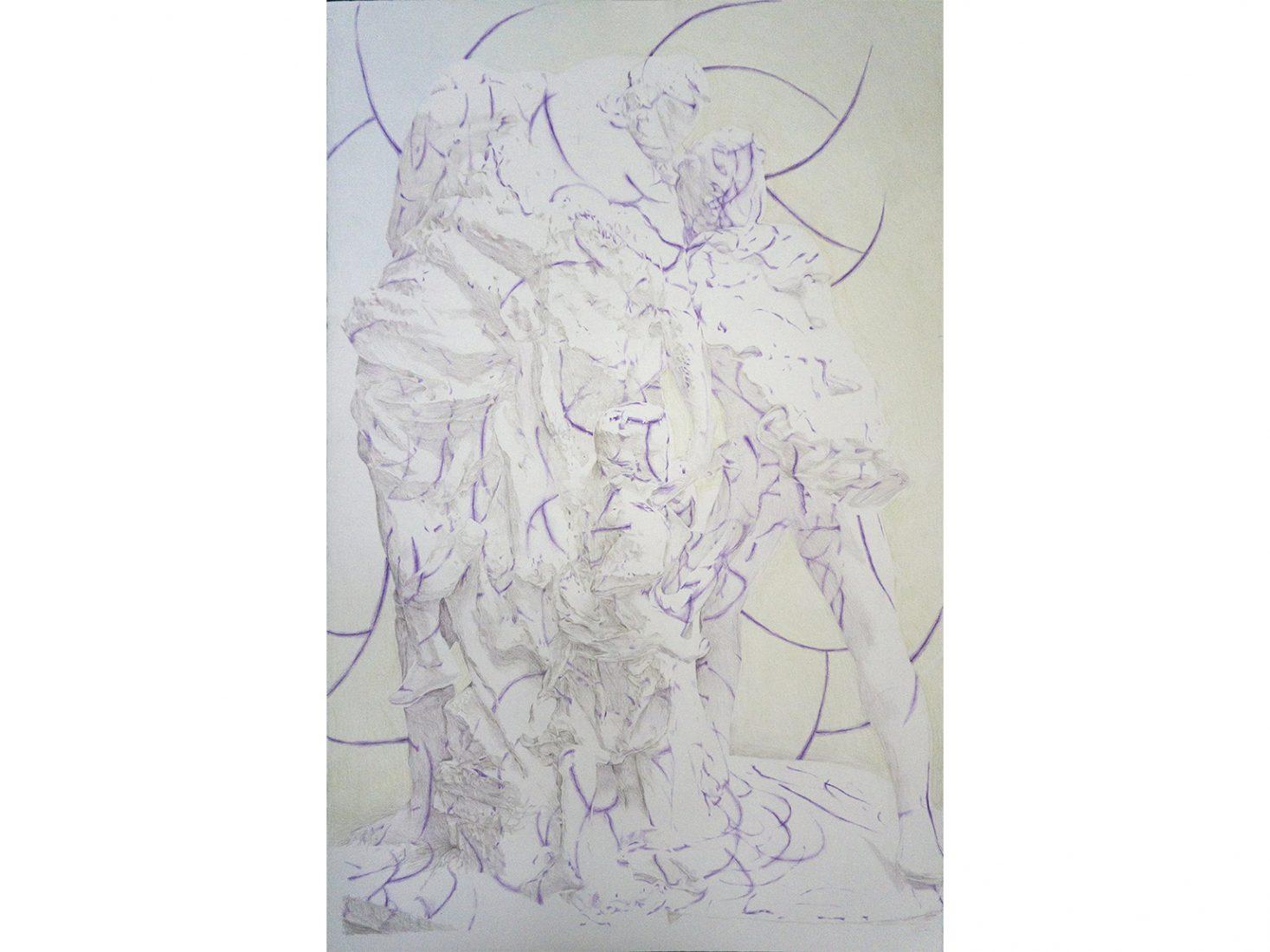 Николай Константинов. Бягство от Троя 01, 2020, цветни моливи, хартия, 102,5 х 66,5 см