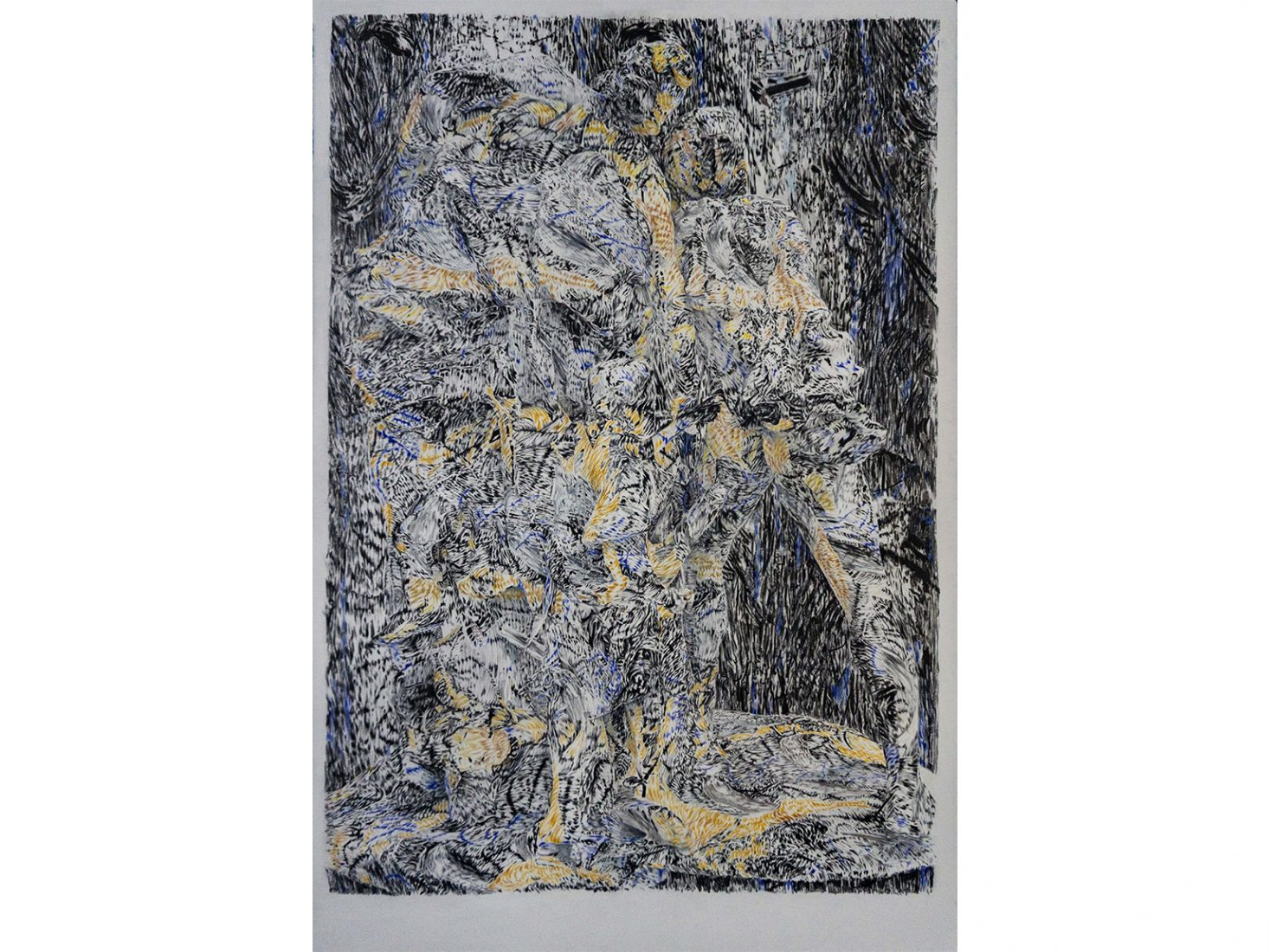 Николай Константинов. Бягство от Троя 02, 2020, цветни моливи, хартия, 102,5 х 66,5 см